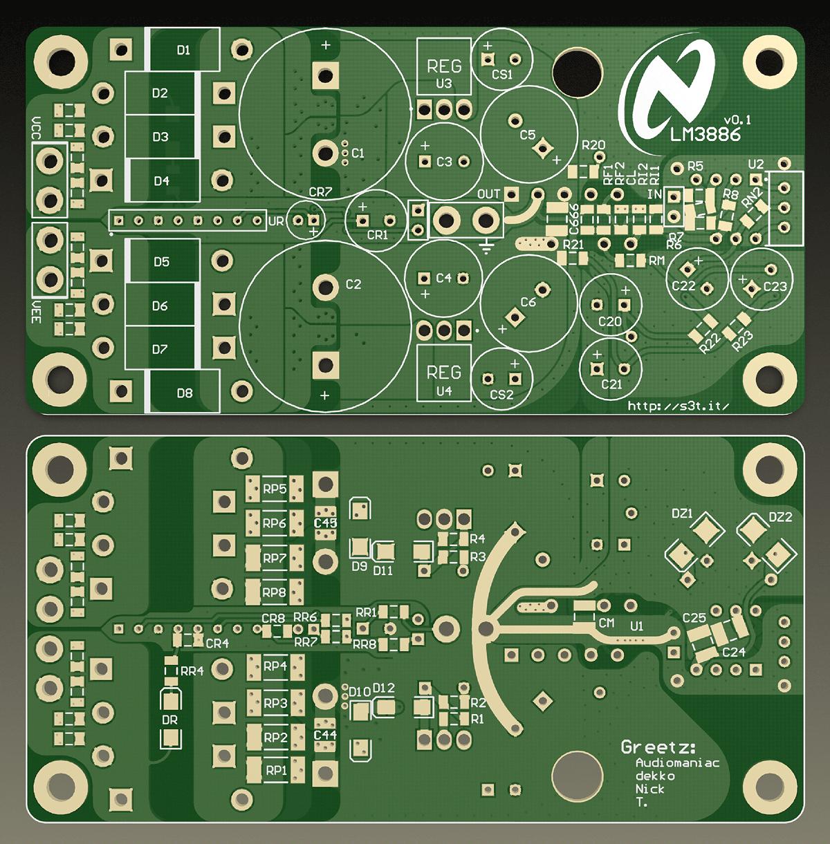 LM3886 regulated m-Gainclone